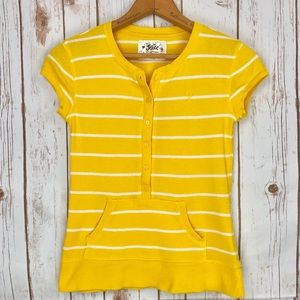 Justice Yellow White Stripes Henley Knit Shirt Top